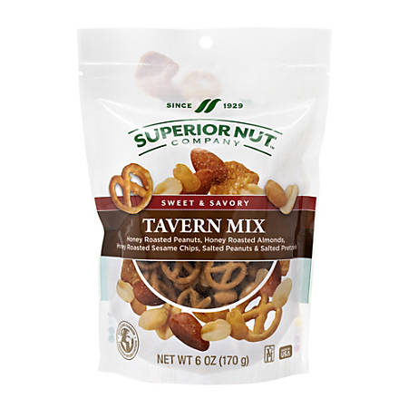 Superior Nut Sweet And Savory Tavern Mix, 6 Oz, Pack Of 6 Bags