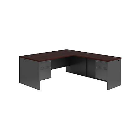 HON® 38000™ Series Left Pedestal Desk With Lock, Mahogany/Charcoal