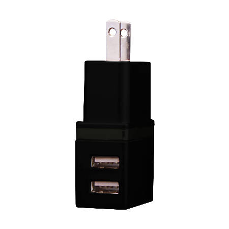 Duracell® Dual USB Charger, AC, Black, LE2304