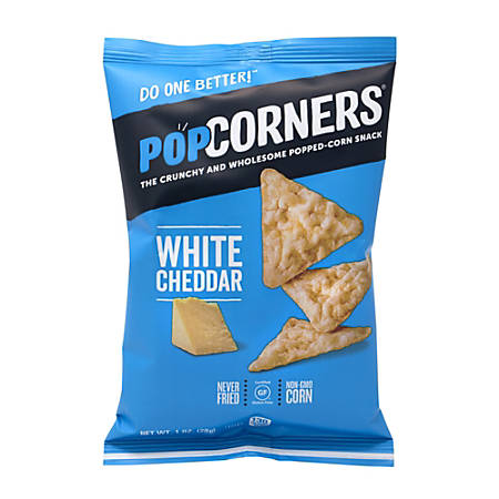 PopCorners Popped-Corn White Cheddar Snack Bags, 1 Oz, Box Of 40 Bags