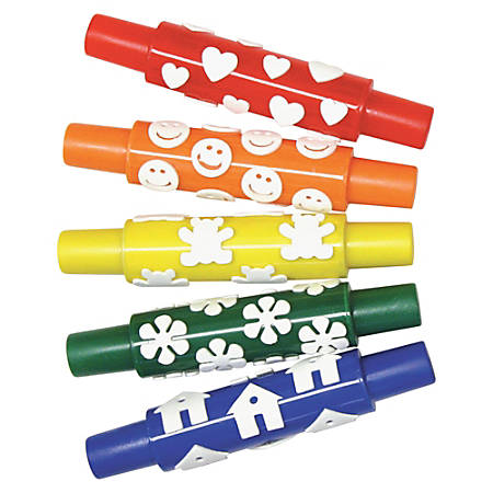 Creativity Street Set A Foam Pattern Rolling Pins, Assorted Colors, Pack Of 5