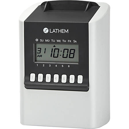Lathem 700E Calculating Electronic Time Clock - Card Punch/Stamp - 100 Employees - Digital