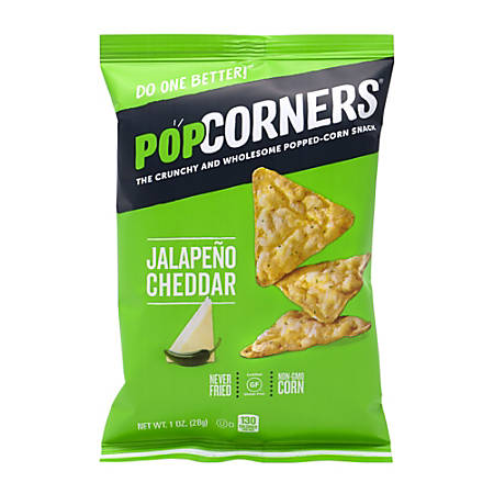 PopCorners Popped-Corn Jalapeño Cheddar Snack Bags, 1 Oz, Box Of 40 Bags