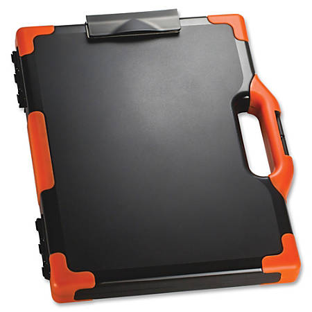"""Officemate® OIC® Carry-All Clipboard Box, 15 1/2""""H x12 1/2""""W x 2 1/4""""D, Black/Orange"""