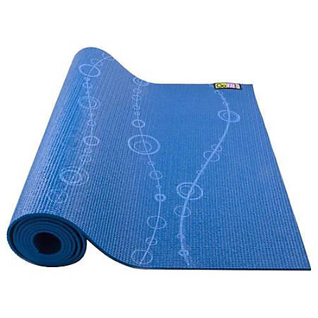 "GoFit Designer Yoga Mat-Bubbles - Yoga, Exercise, Stretching - 68"" Length x 24"" Width - Rectangle - Bubbles - Blue"
