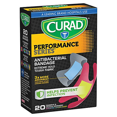 """CURAD® Finger/Knuckle Antibacterial Adhesive Bandages, 1 3/4"""" x 2"""", Assorted Colors, Pack Of 20"""
