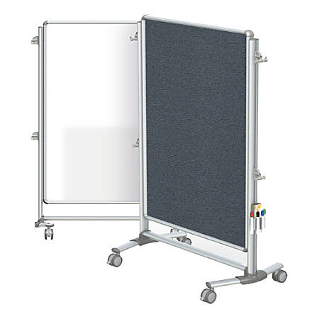 "Ghent Nexus Jr. Partition Double-Sided Mobile Magnetic Whiteboard And Bulletin Board, Porcelain/Fabric, 46-1/4"" x 34-1/4"", Gray Fabric, Aluminum Frame"