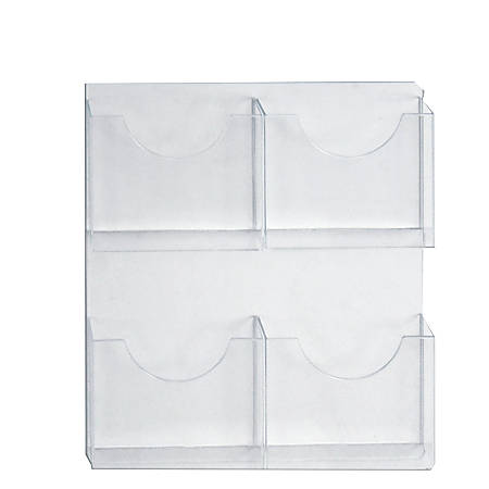 """Azar Displays 4-Pocket Wall-Mount Brochure Holders, 21-1/2"""" x 18-7/8"""", Clear, Pack Of 2 Holders"""