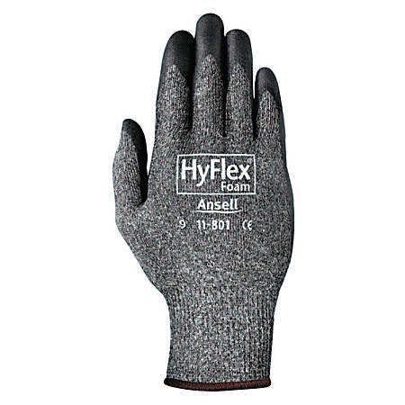 Ansell HyFlex® Foam Gloves, Size 10, Black/Gray, Pack Of 24 Gloves