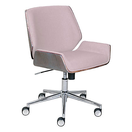 Elle Décor Ophelia Bentwood Fabric Mid-Back Task Chair, Pink/Chrome