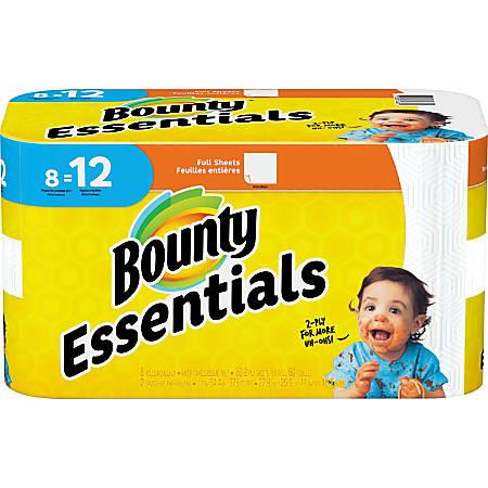 Bounty Essentials Paper Towel Rolls - 2 Ply - 60 Sheets/Roll - White - For Kitchen - 8 Rolls Per480 Quantity PerCarton - 480 / Carton