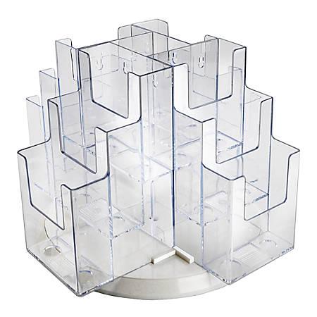"Azar Displays 12-Pocket 3-Tier Revolving Brochure Holder, 9""H x 15""W x 15""D, Clear"