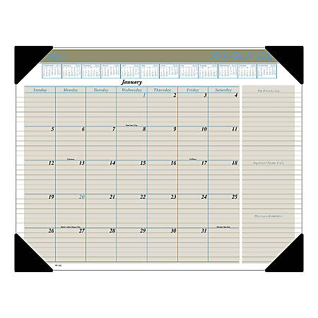 """AT-A-GLANCE® Executive Monthly Desk Pad Calendar, 22"""" x 17"""", January To December 2020, HT1500"""
