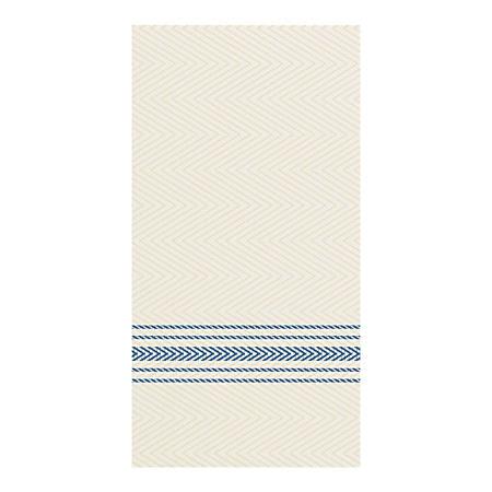 "FashnPoint 1-Ply Dinner Napkins, 7-1/2"" x 4-1/4"", Blue/White Dishtowel Print, Case Of 800 Napkins"
