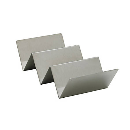 """Winco Stainless Steel Taco Holder, 1-15/16""""H x 3-15/16""""W x 8-1/16""""D, Silver"""