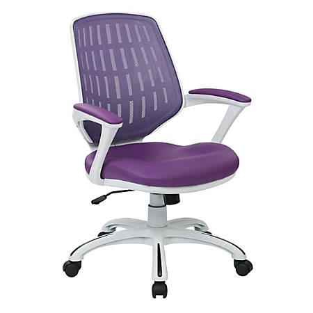 Office Star™ Avenue Six® Calvin Mesh Mid-Back Chair, Purple/White