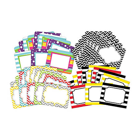 "Barker Creek Name Tags, 3 3/4"" x 2 1/2"", Chevron/Wide Stripes/Happy, 45 Name Tags Per Pack, Case Of 4 Packs"