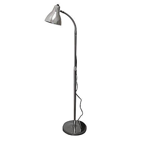 "Hausmann 52"" Height-Adjustable Gooseneck Floor Lamp, Chrome"