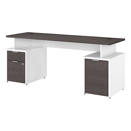 "Bush Business Furniture Jamestown Desk With Drawers And Small Storage Cabinet, 72""W, Storm Gray/White, Premium Installation"