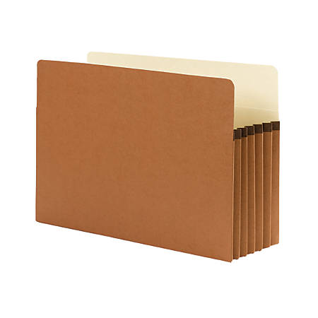 """Smead® Expanding File Pocket With Tyvek® Gusset, Legal Size, 5 1/4"""" Expansion, 100% Recycled, Redrope, Box Of 10"""
