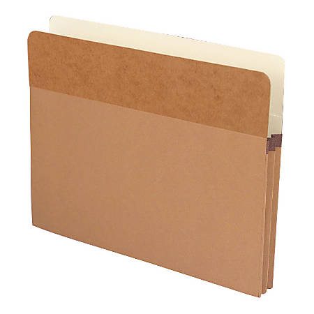 """Smead® Extra-Wide Redrope End-Tab File Pocket With Dark Brown Tyvek® Gusset, Extra Wide Letter Size, 3 1/2"""" Expansion, 30% Recycled, Box Of 10"""