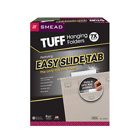 Smead® TUFF® Hanging File Folders With Easy Slide™ Tabs, Letter Size, Steel Gray, Box Of 18