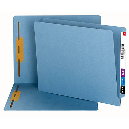 Smead® End-Tab Fastener Folders, Letter Size, 100% Recycled, Blue, Pack Of 50