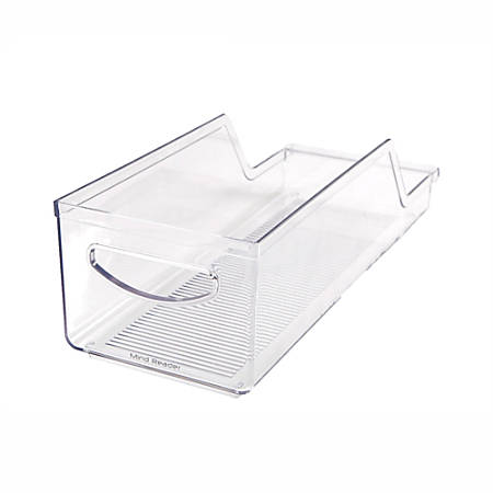 """Mind Reader Stackable Soda Can Holders, 3 7/8""""H x 5 1/8""""W x 14 1/8""""D, Clear, Pack Of 2"""