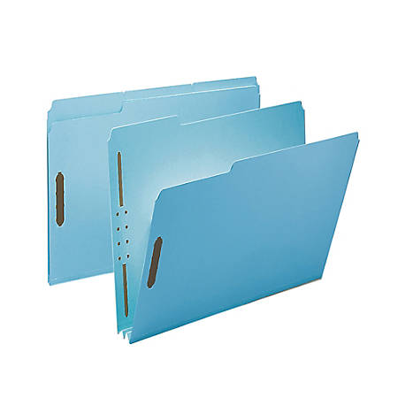 """Smead® Pressboard Fastener Folders, 2"""" Expansion, Letter Size, 100% Recycled, Blue, Pack Of 25"""