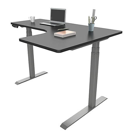 Loctek Height Adjustable Corner Desk With Right Return BlackSilver - Office Depot