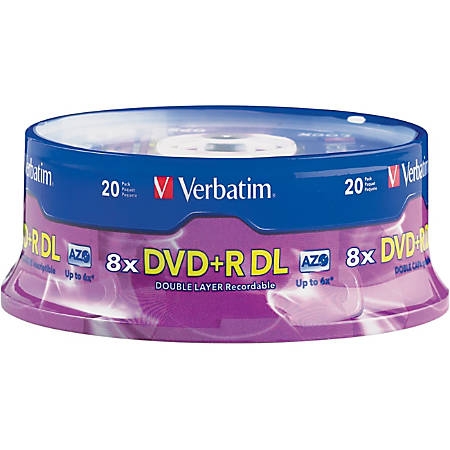 Verbatim DVD+R DL 8.5GB 8X with Branded Surface - 20pk Spindle - 8.5GB - 20pk Spindle