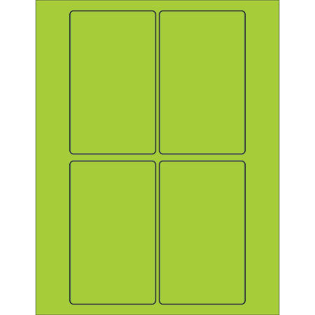 "Office Depot® Brand Labels, LL175GN, Rectangle, 3"" x 5"", Fluorescent Green, Case Of 400"