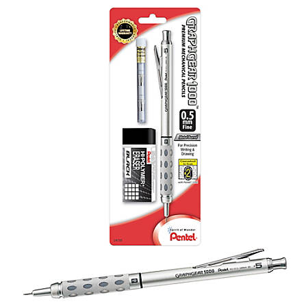 Pentel Arts GraphGear 1000 Premium Gift Set with Refill Leads /& Erasers