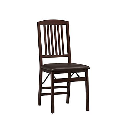 Linon Home Triena Mission Back Wood Folding Chair, Dark Brown/Espresso, Set Of 2