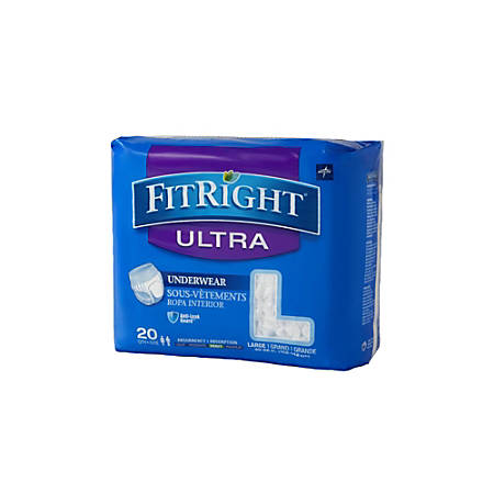 """FitRight Ultra Protective Underwear, Large, 40 - 56"""", White, Case Of 20"""