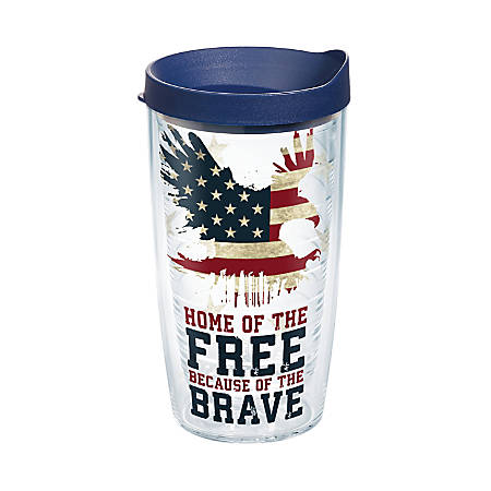 Tervis Home Of The Free Tumbler With Lid, 16 Oz, Clear