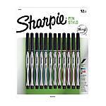 Sharpie® Fine-Point Pens, Fine Point, 0.3 mm, Black/Silver Barrels, Assorted Ink Colors, Pack Of 12