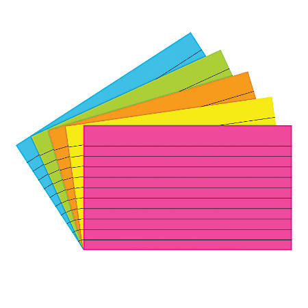 "Top Notch Teacher Products® Brite Lined Index Cards, 3"" x 5"", Assorted Colors, 75 Cards Per Pack, Case Of 10 Packs"