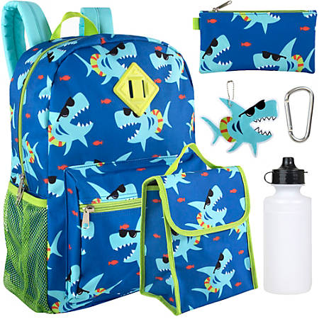 Trailmaker 6-Piece School Backpack And Accessories Set, Sharks