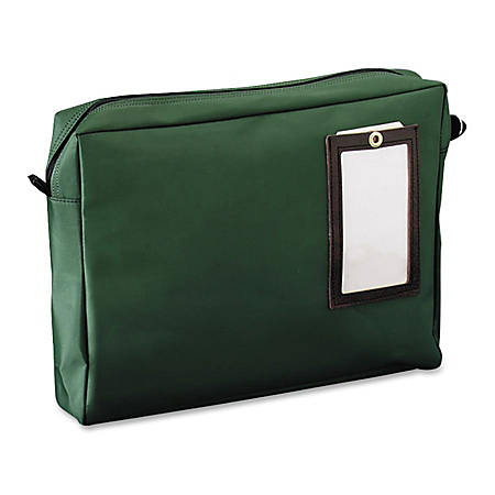 "MMF Cloth Transit Mail Bag - 18"" Width x 14"" Length - 4"" Gusset - Green - Nylon - 1Each - Mailing, Office, Parcel"