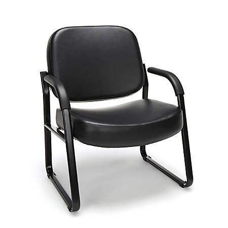 OFM Big And Tall Anti-Bacterial Guest Reception Chair With Arms, Black