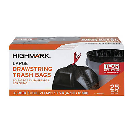"Highmark™ Low-Density Trash Bags — Coreless Roll, 30 Gallons, 30"" x 33"", Box Of 25"