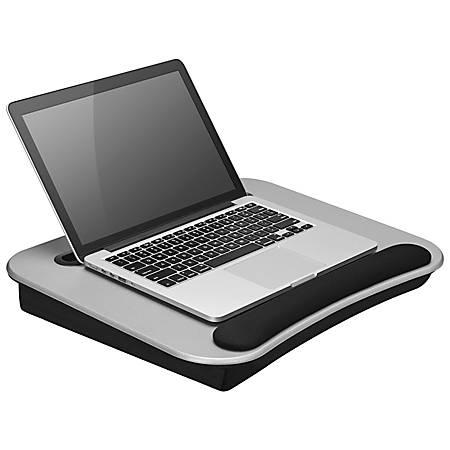 "LapGear Media Lap Desk With Wrist Rest, 2.6""H x 18.5""W x 14.75""D, Silver"