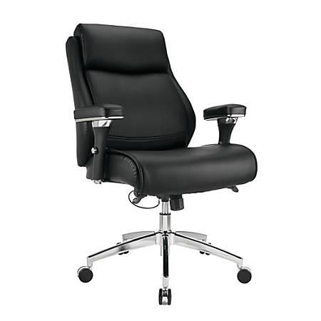 Realspace® Modern Comfort Series Keera Bonded Leather Managerial Mid-Back Chair, Onyx/Chrome