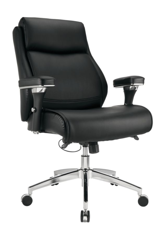 Realspace Modern Comfort Keera Bonded Leather Mid Back Chair OnyxChrome By  Office Depot U0026 OfficeMax
