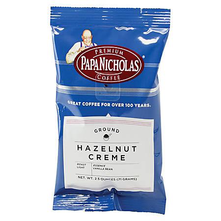 PapaNicholas Coffee Hazelnut Crème Coffee Packets, 2.5 Oz, Pack Of 18