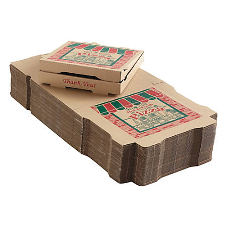 "ARVCO Corrugated Pizza Boxes, 12"" x 12"" x 1 3/4"", Kraft, Pack Of 50 Boxes"