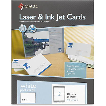 "MACO Micro-perforated Laser/Ink Jet Post Cards - 6"" x 4"" - 100 / Box - White"