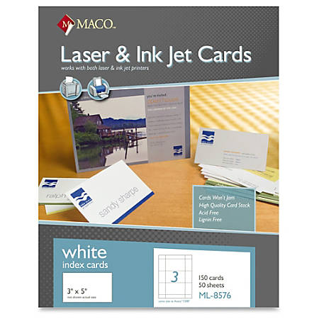"MACO Micro-perforated Laser/Ink Jet Unruled Index Cards - 5"" x 3"" - 150 / Box - White"