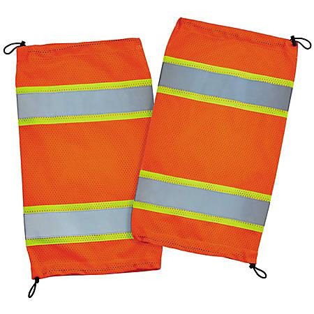 Ergodyne GloWear 8009 Hi-Vis Class E 2-Tone Mesh Leg Gaiters, One Size, Orange